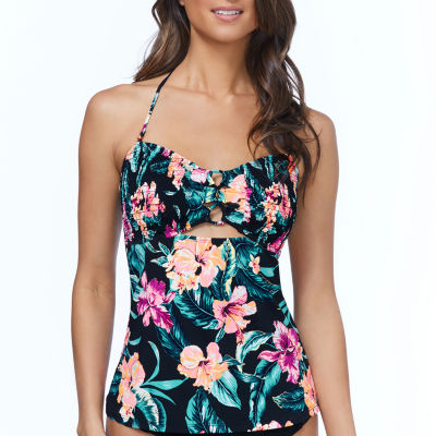 Ambrielle Smocked Floral Tankini Swimsuit Top