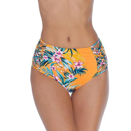 Ambrielle Floral High Waist Bikini Swimsuit Bottom, Small , Orange