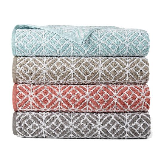 JCPenney Home Fractal Geo Geometric Bath Towel