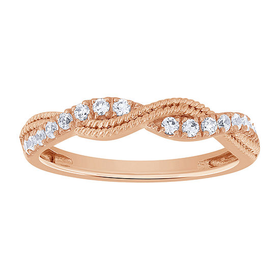 Womens 1/4 CT. T.W. Genuine White Diamond 10K Rose Gold Wedding Band