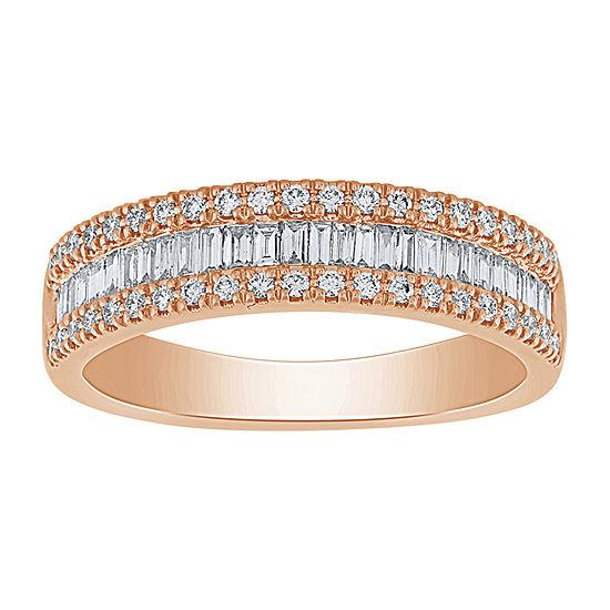 1/2 CT. T.W. Genuine White Diamond 10K Rose Gold Wedding Band