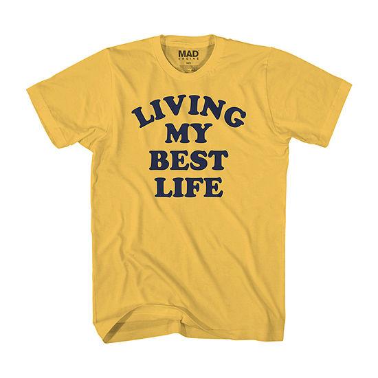 Living My Best Life Mens Crew Neck Short Sleeve Humor Graphic T-Shirt