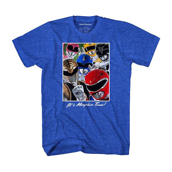 Mens Crew Neck Short Sleeve Power Rangers Graphic T-Shirt