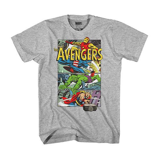 Comic Panel Mens Crew Neck Short Sleeve Avengers Graphic T-Shirt