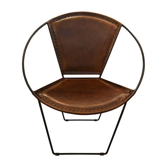Stylecraft Round Brown Goat Hide Accent Chair