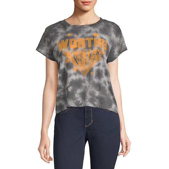 Mighty Fine-Juniors Womens Crew Neck Short Sleeve Tie-dye Graphic T-Shirt