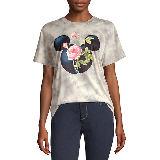 Disney Collection-Juniors Mickey Mouse Womens Crew Neck Short Sleeve Mickey Mouse Tie-dye Graphic T-Shirt