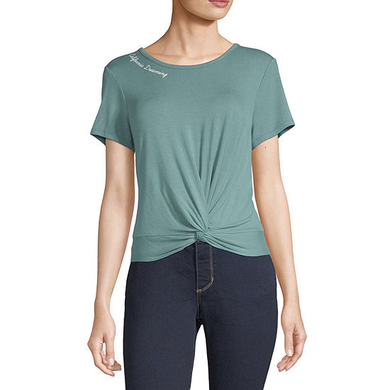 Cut And Paste-Juniors Destination Womens Crew Neck Short Sleeve Graphic T-Shirt