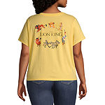 Mighty Fine-Juniors Plus Spring 20 Tee Womens Crew Neck Short Sleeve The Lion King Graphic T-Shirt