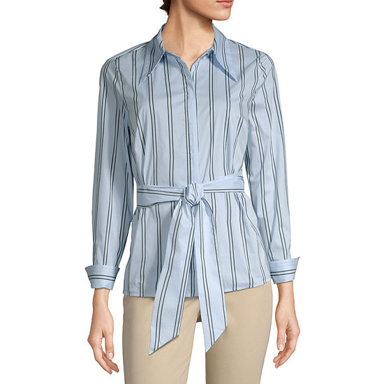 Worthington Womens Wrapped Collared Shirt