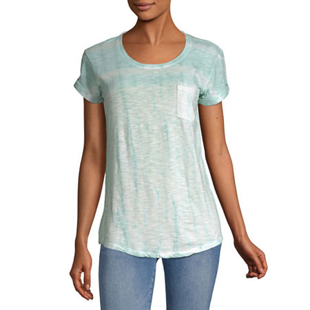 a.n.a-Womens Round Neck Short Sleeve T-Shirt, X-small , Blue - 84202580034