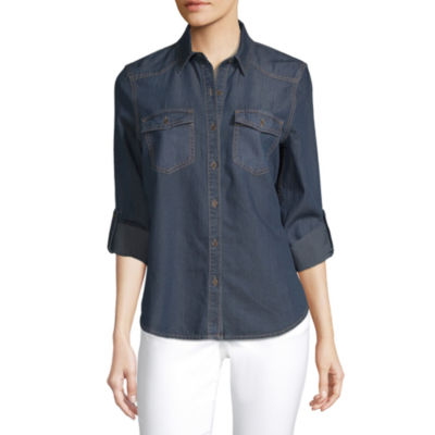 a.n.a. Womens Long Sleeve Regular Fit Button-Down Shirt