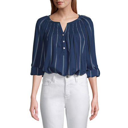 St. John's Bay Womens Y Neck Long Sleeve Blouse, Small , Blue