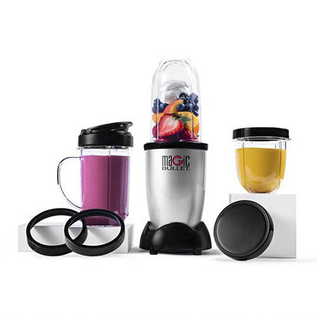 Blending has never been as fast and easy as with the Magic Bullet blender and mixer system. It\\\'s the personal, versatile countertop magician that works like magic. With the MAGIC BULLET you can chop, mix, blend, whip, grind, and more  all in just 10 seconds or less  for the fastest, tastiest meals ever! Ready to own the kitchen? The Magic Bullet whips up chunky salsas, creamy dips, refreshing smoothies, festive cocktails and much more in seconds. Not only is it fast and versatile, it\\\'s also compact. This easy-to-use blender takes up way less countertop space than bulky full-size food processors and blenders, though it\\\'s got the chops to tackle both of their jobs. It\\\'s a world of treats in one little machine - chop, blend, and mix your way to tasty fun with the original kitchen magician. The Magic Bullet lets you blend, mix, and chop your favorite foods in seconds.High-torque 250-Watt motor powers the machine\\\'s versatility. There\\\'s no limit to the sauces, dips, drinks and snacks you can create.Cross Blade is made from stainless steel and cups are made from super-durable, BPA-free plastic.Hassle-free cleaning - simply twist off the blade, rise with soap and water, and put the cups in the top rack of the dishwasher. This item comes with a 1 year limited warranty.NOTE: Refer to User Manual before useProduct built to North American & Canadian Electrical StandardsIncluded: (1) 250W Motor Base, (1) Cross-Blade, (1) Tall Cup, (1) Short Cup, (1) Party Mug, (2) Lip Rings, (2) Stay-Fresh Resealable Lids, (1) To-Go Lid and 10-Second Recipe GuideWattage: 250WPlastic/metal.Measurements: 6.9\\\