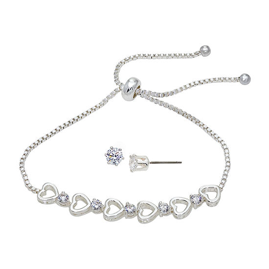 Sparkle Allure Light Up Box 2-pc. Cubic Zirconia Pure Silver Over Brass Jewelry Set