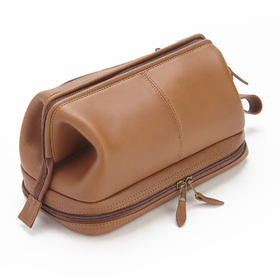 Royce® 100% Leather Toiletry Bag with Zippered Bottom Compartment