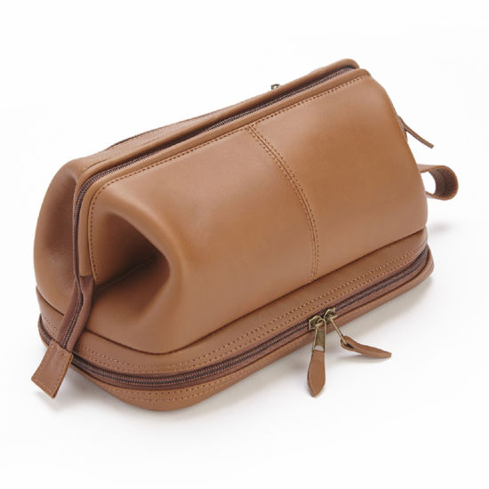 Royce Leather Royce 100% Leather Toiletry Bag with Zippered Bottom Compartment