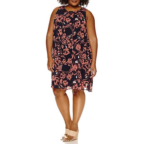Msk Sleeveless Floral Sheath Dress-Plus