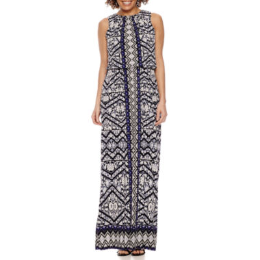 London Times Sleeveless Partially Lined Maxi Dress-Petites