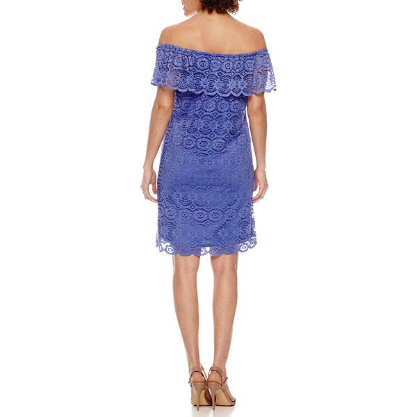 Ronni Nicole Short Sleeve Lace A-Line Dress-Petites