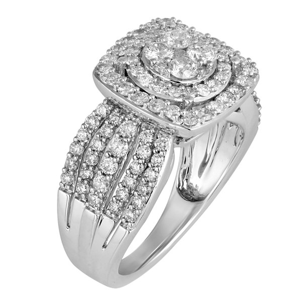 Womens 1 1/2 CT. T.W. Round White Diamond 10K Gold Engagement Ring