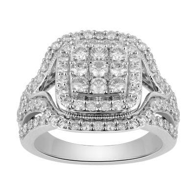 Womens 2 CT. T.W. Round White Diamond 10K Gold Engagement Ring