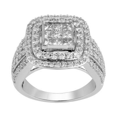 Womens 2 CT. T.W. Genuine Round White Diamond 10K Gold Engagement Ring