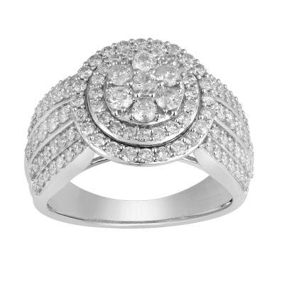 Womens 1 1/2 CT. T.W. Genuine White Diamond 10K White Gold Engagement Ring