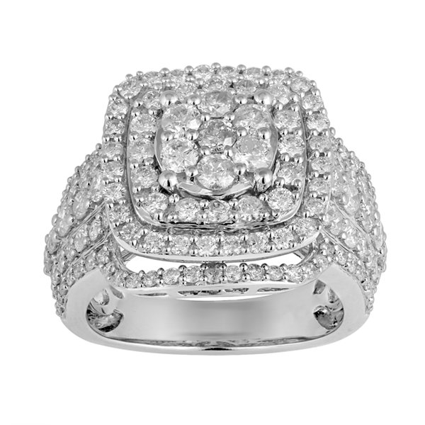 Womens 3 CT. T.W. Round White Diamond 10K Gold Engagement Ring