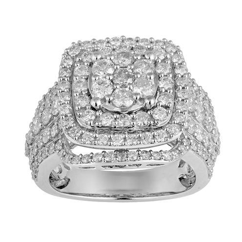 Womens 3 CT. T.W. Genuine Round White Diamond 10K Gold Engagement Ring