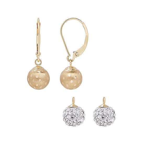 2 Pc Crystal 14k Gold Earring Sets