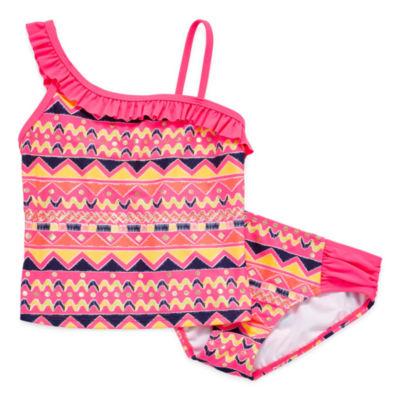 St. Tropez Girls Pattern Tankini Set - Big Kid