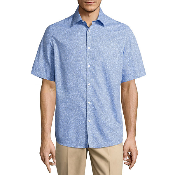 Claiborne Short Sleeve Dots Button-Front Shirt