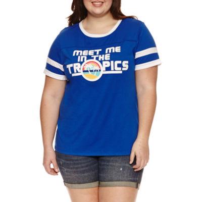 "Arizona ""Meet Me in the Tropics"" Graphic T-Shirt- Juniors Plus"