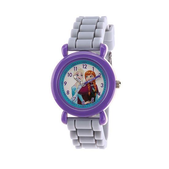Disney Frozen Girls Gray Strap Watch-Wds000524