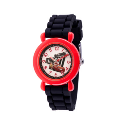Disney Cars Boys Black Strap Watch-Wds000523