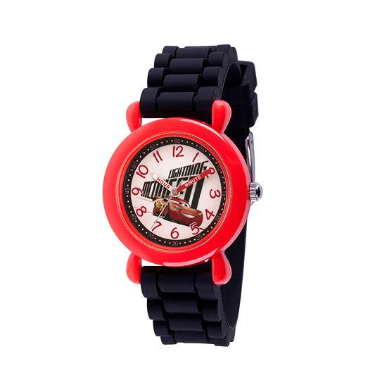 Disney Cars Boys Black Strap Watch-Wds000523