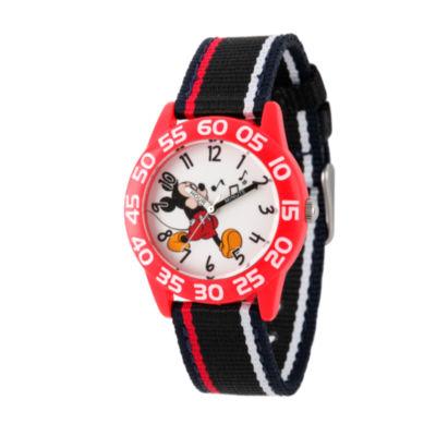 Disney Mickey Mouse Boys Black Strap Watch-Wds000520