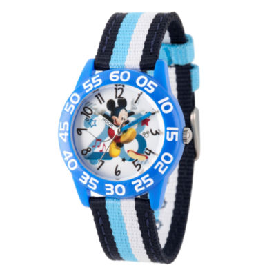 Disney Mickey Mouse Boys Black Strap Watch-Wds000518