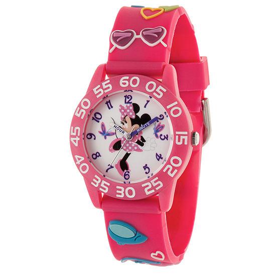 Disney Minnie Mouse Girls Pink Strap Watch-Wds000496