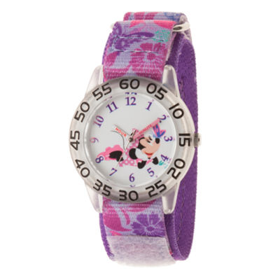 Disney Minnie Mouse Girls Purple Strap Watch-Wds000497
