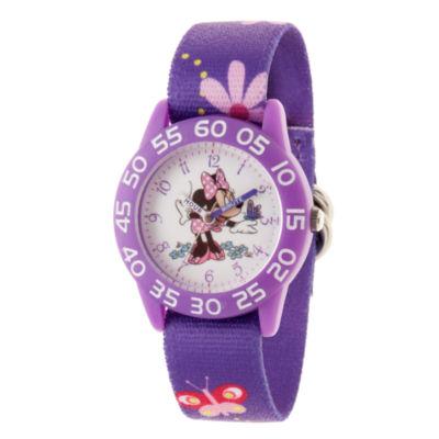 Disney Minnie Mouse Girls Purple Strap Watch-Wds000498