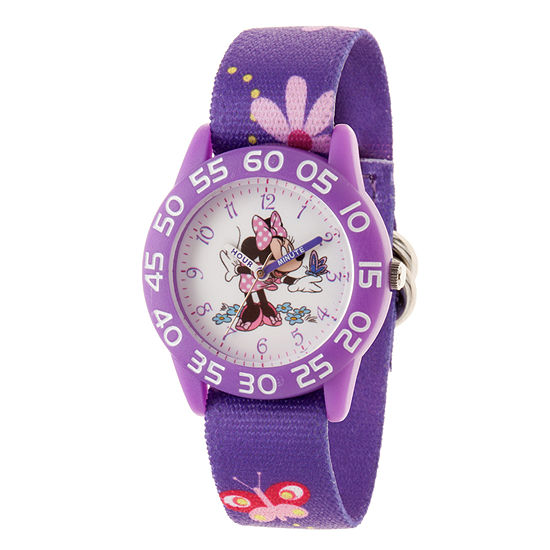 Disney Minnie Mouse Girls Purple Strap Watch-Wds000498