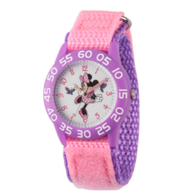 Disney Minnie Mouse Girls Pink Strap Watch-Wds000499