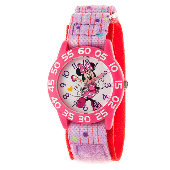Disney Minnie Mouse Girls Pink Strap Watch-Wds000500