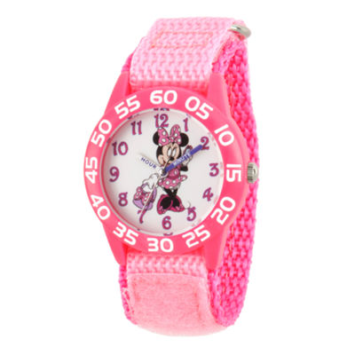 Disney Minnie Mouse Girls Pink Strap Watch-Wds000501