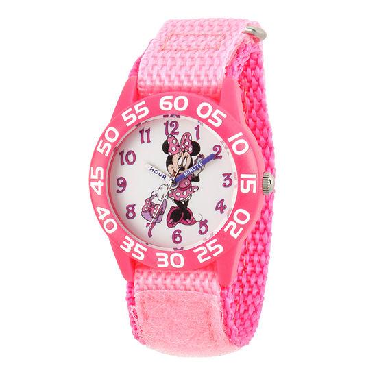 Disney Minnie Mouse Girls Pink Strap Watch-Wds000501