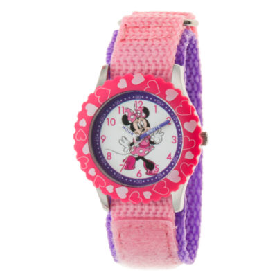 Disney Minnie Mouse Girls Pink Strap Watch-Wds000502