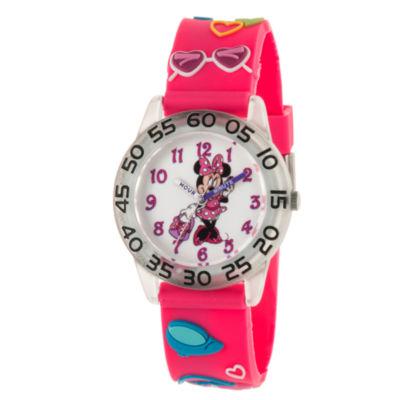 Disney Minnie Mouse Girls Pink Strap Watch-Wds000503