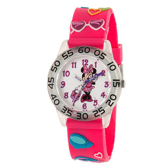 Minnie Mouse Girls Pink Strap Watch-Wds000503